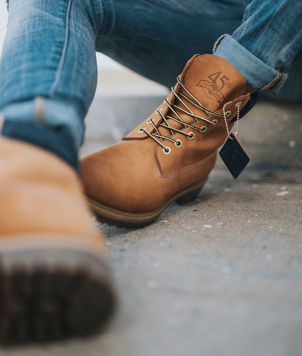 hiking boots brown tan leather jeans habits