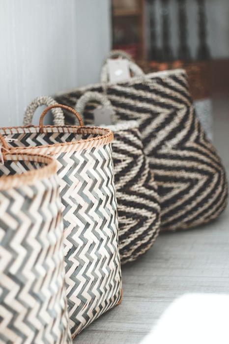 woven baskets tan white black chevron stripes organization 54545