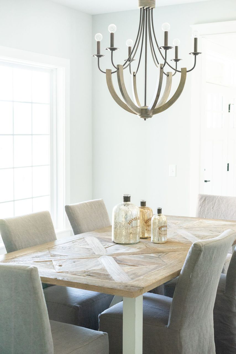 modern farmhouse rustic wood table chandelier chairs 54545