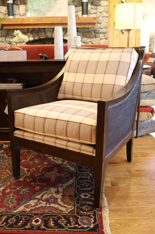 windwood cream plaid brown wood frame upholstered chair m|t lakeside living furniture store 54545