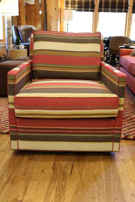 red green cream striped upholstered chair fun lake cabin comfort upholstered chair m|t lakeside living furniture store 54545