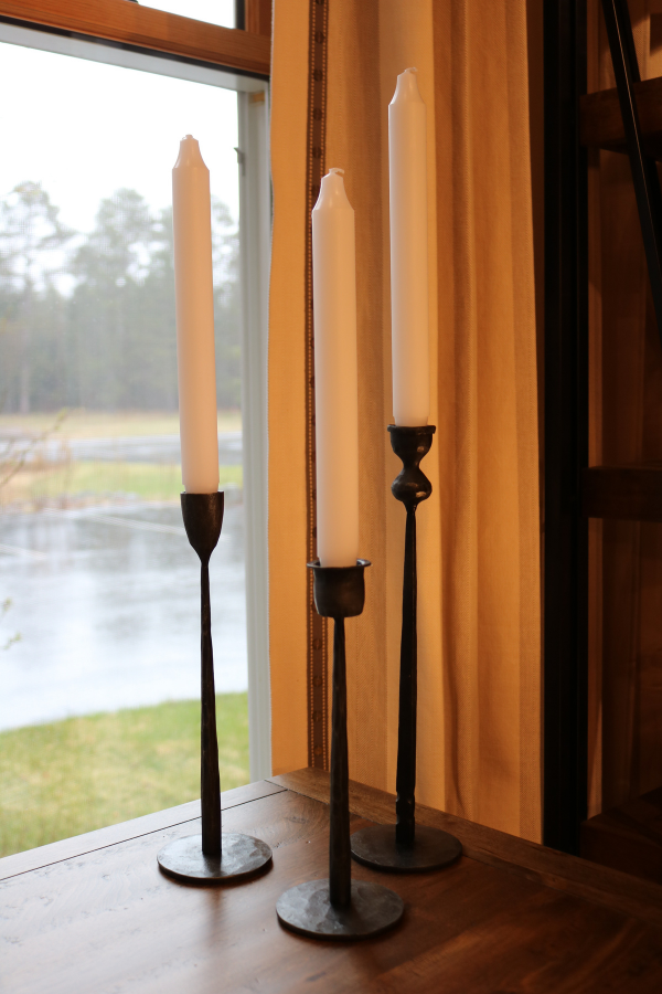 lakeside-living-design-northwoods-wi-cabin-decor-candle-sticks-varying-heights-tapered