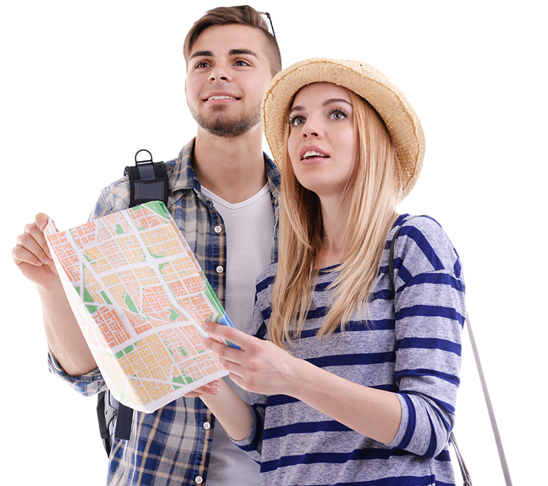 Young Couple Navigating a Map
