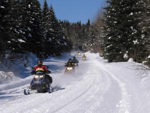 snowmobiles-on-trail