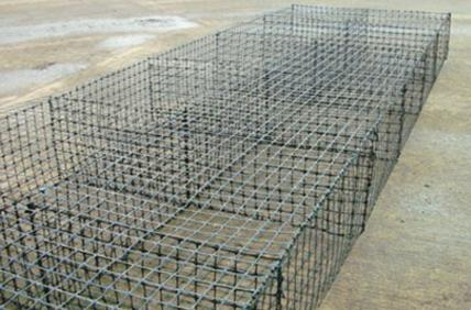 PRE-ASSEMBLED DURA-GUARD TM  GABION BASKETS - STAGED & READY FOR FILLING