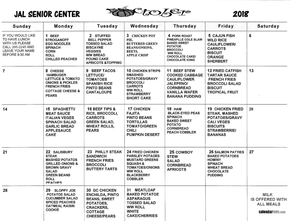 october senior meal 1024x777 - Community Calendar