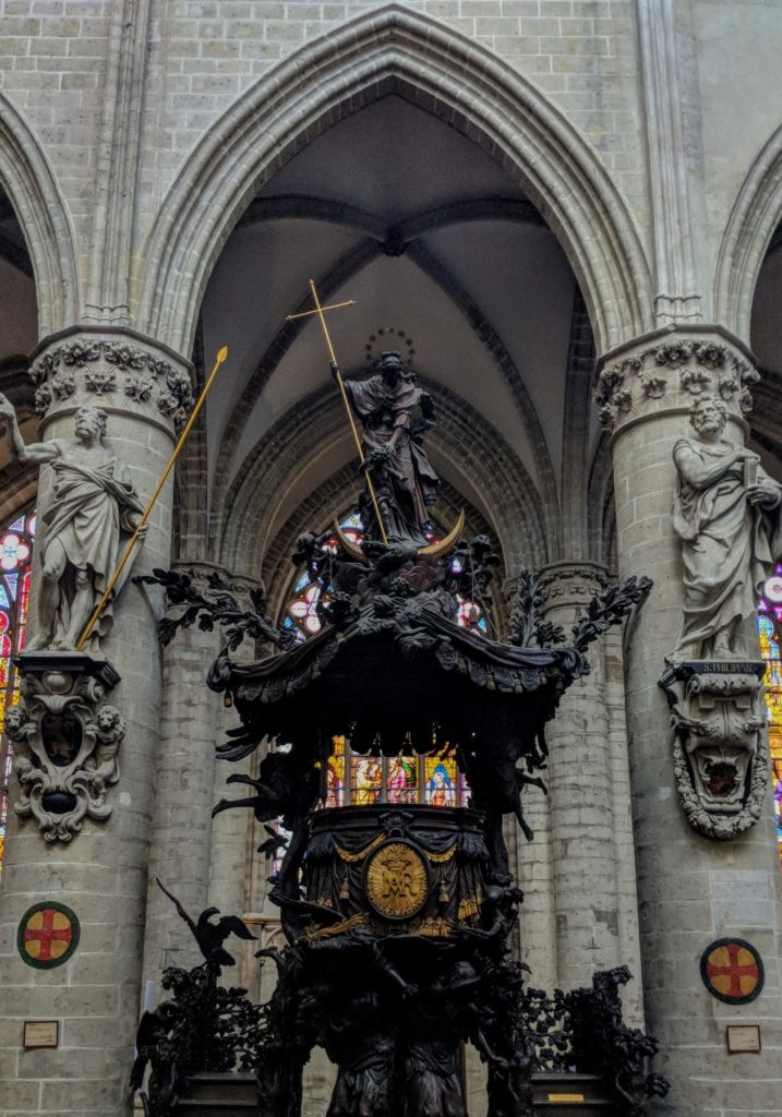 Sculptures inside St Michael and St Gudula Cathedral