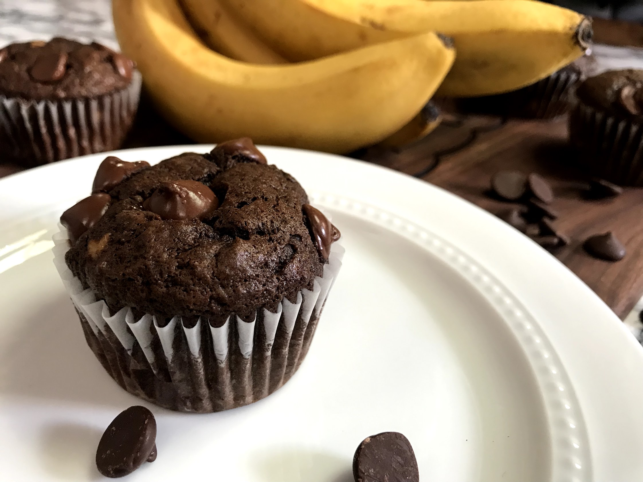 Double Chocolate Cannabis Banana Bread Muffins