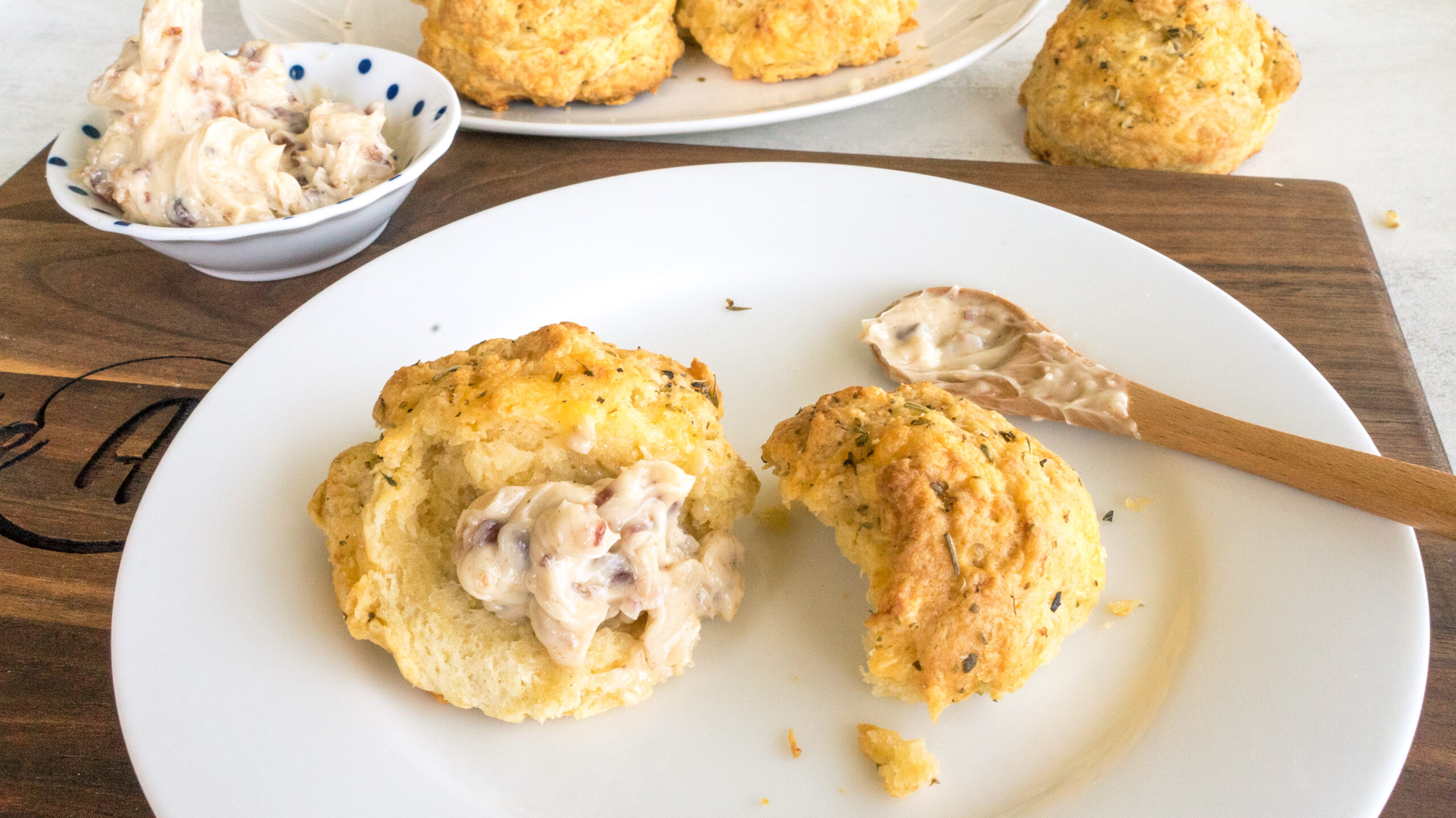 Cheddar Biscuits with Maple Bacon Butter