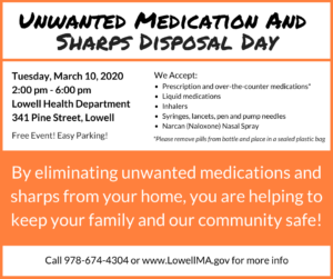 Unwanted Medication and Sharps Disposal Day @ Lowell Health Department