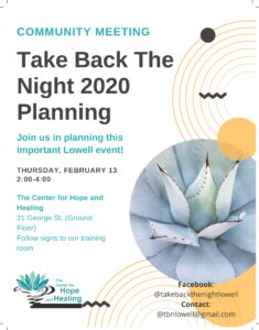 Take Back the Night Planning Committee @ The Center for Hope and Healing (Ground Floor)
