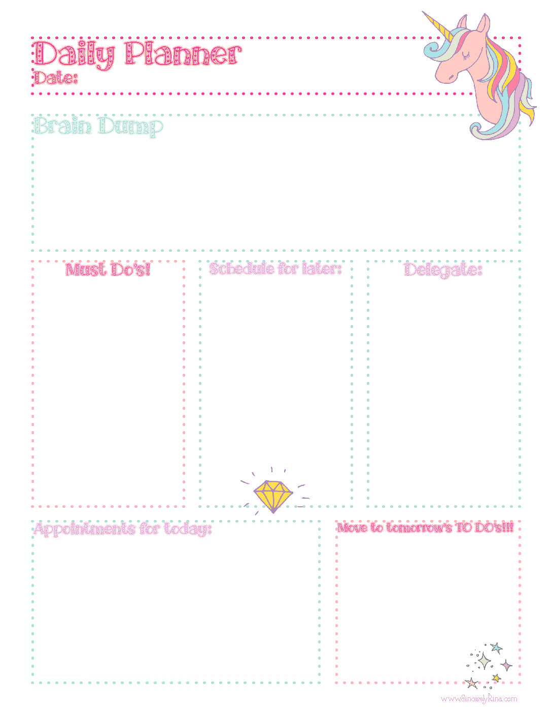 graphic relating to Daily Sheet identify Unicorn Day by day Planner Sheet: Totally free Printable Sincerely Rina