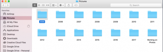 The pictures folder with a separate folder for each year.