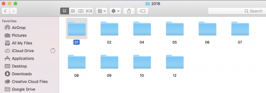 A folder for each month of in the year that has pictures taken and imported into Lightroom