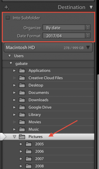 Settings to choose to have Lightroom organize your photos by date