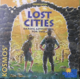Lost Cities (2 players; 15 minutes; ages 8+)