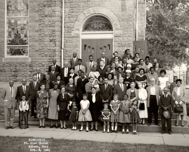 Congregation on the church steps, 1961. Courtesy of Ada Woodson Adams.