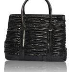 DIVA LUXURY BLACK EELSKIN LEATHER BAG