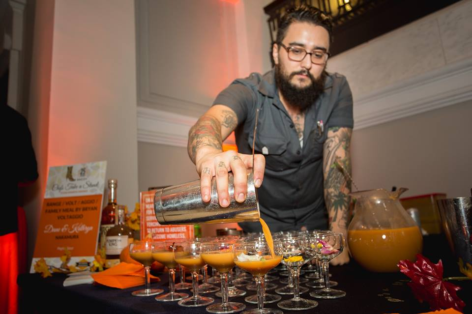 Chef pouring drinks