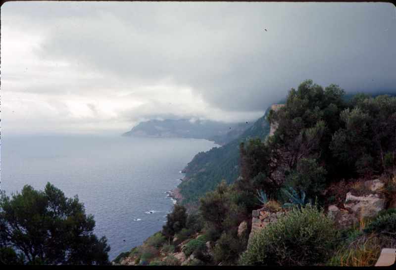 Dec 1968 view of Soller Majorca on the way over the mts 33 switchbacks in road