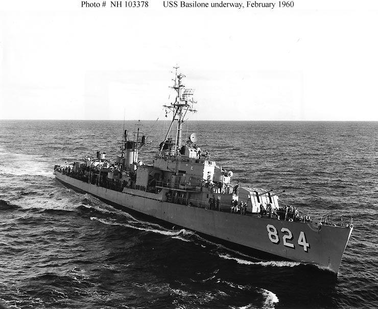 Coming alongside Albemarle (AV-4) to transfer personnel, Feb, '60