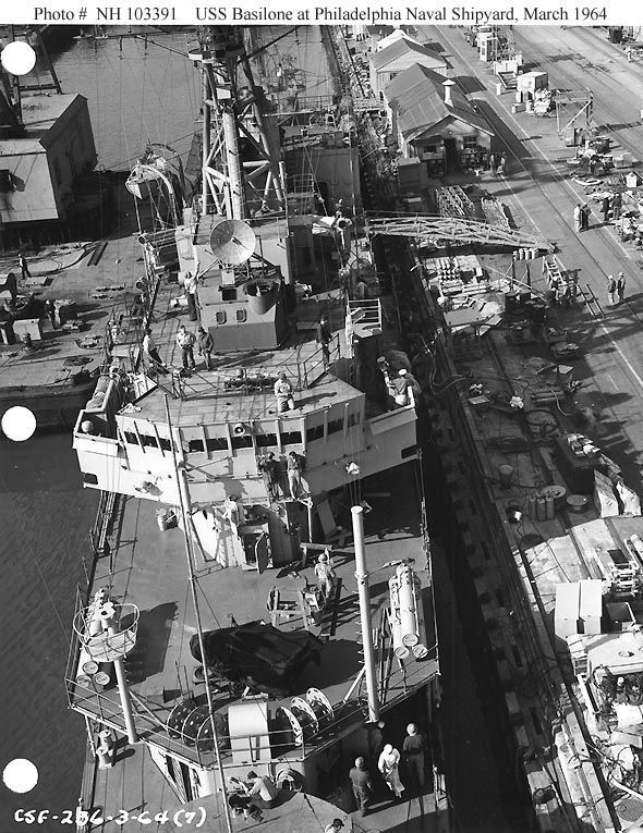 View of fwd superstructure and 01 level.  PNS, Mar. '64