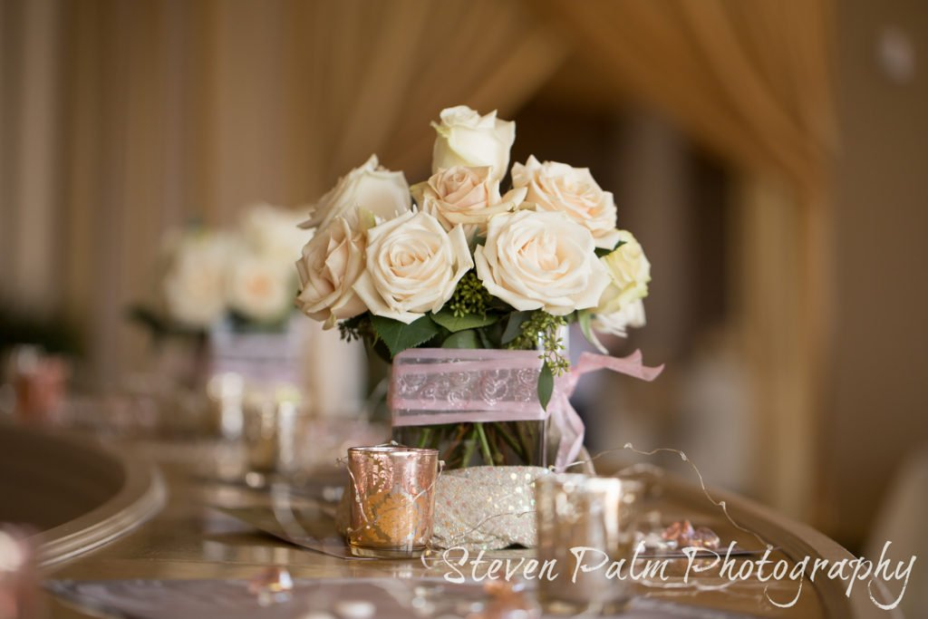 neutral flower centerpiece at skyline tucson wedding