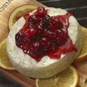 Planked Brie with Cranberry Relish