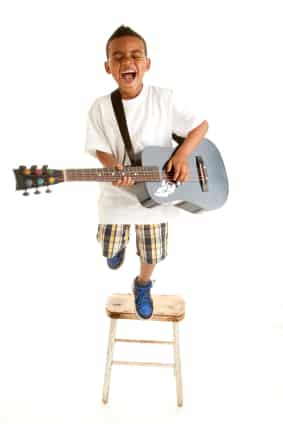 Boy playing guitar