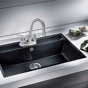 Hybrid Metal Deck Faucet, Double Handle High Arc Pop-up
