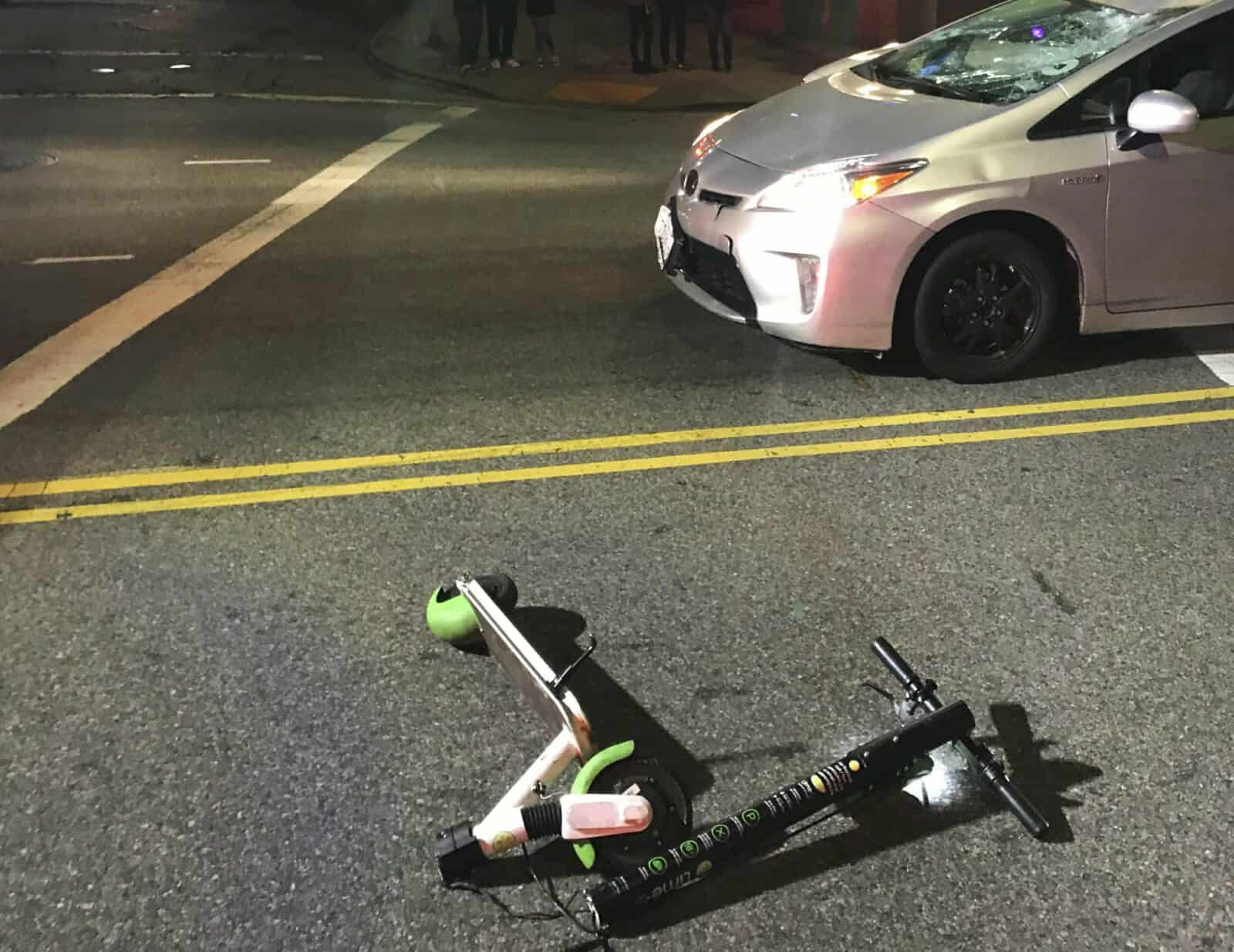 scooter and car accident