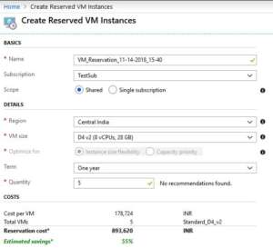 Create Reserved VM Instance