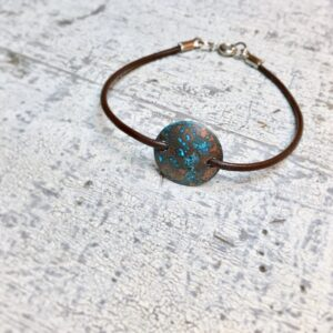 blue patina copper leather bracelet