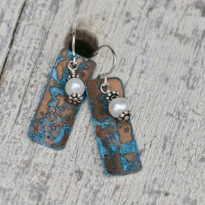 blue patina copper rectangle earrings long with pearl