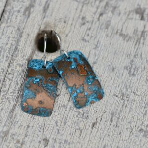 blue patina copper rectangle earrings