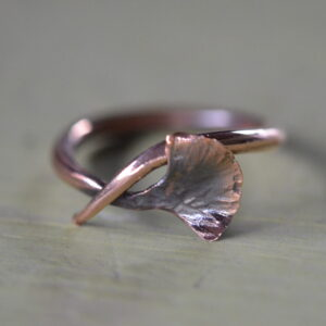copper gingko leaf ring