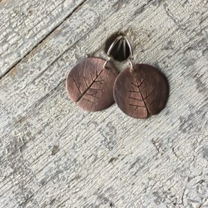 copper tree earrings circle