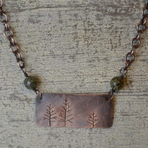 copper tree silhouette necklace