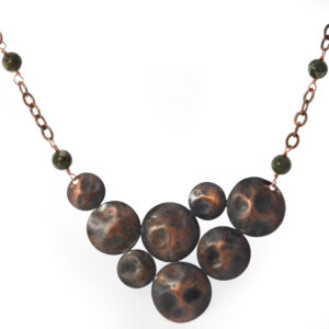 rustic copper circles necklace