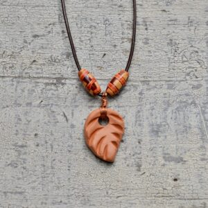 terra cotta leaf necklace oil diffuser 7