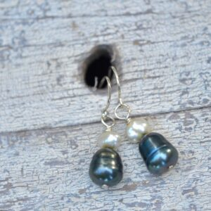 blue and white pearl earrings