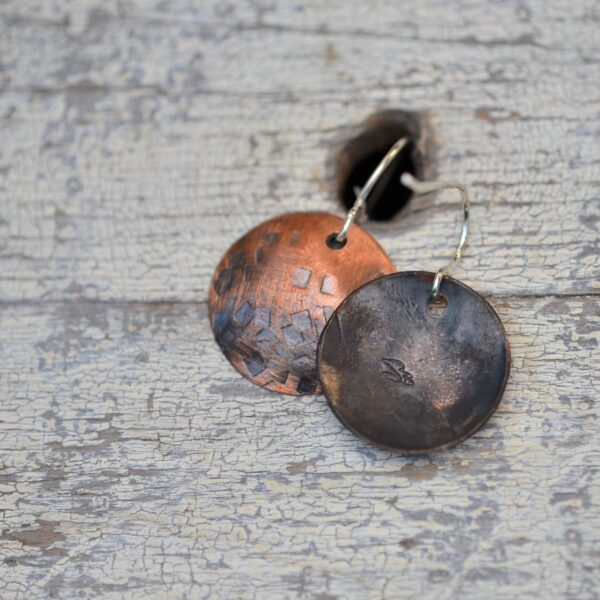 copper dome earrings with square texture