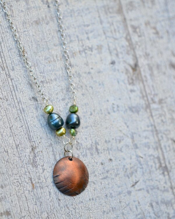 copper dome necklace with blue and green