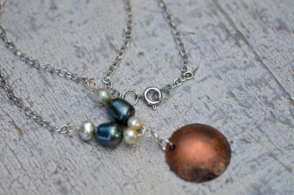 copper dome necklace with blue and white pearls clasp view