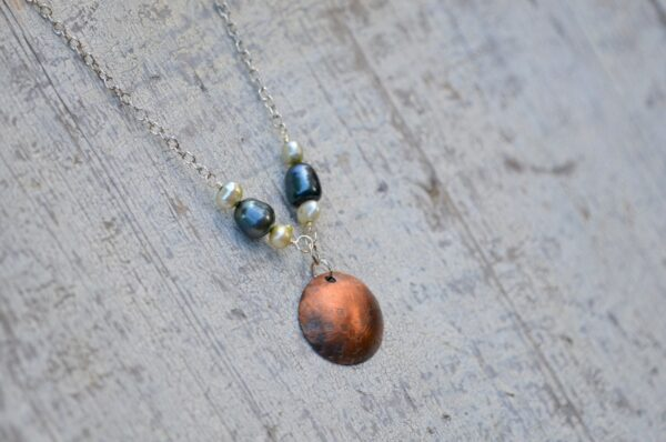 copper dome necklace with blue and white pearls