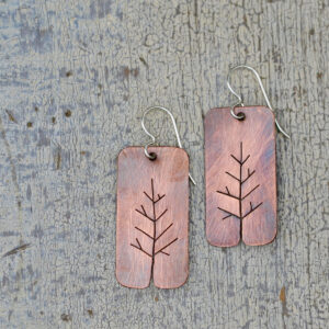 copper tree earrings