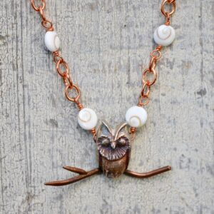owl necklace copper chain white gemstone