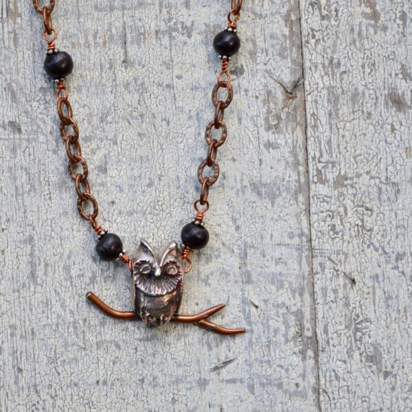 sterling silver owl on antiqued copper chain