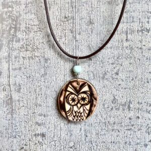 wood burned owl necklace