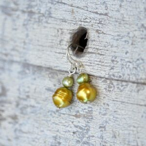 yellow and green pearl earrings